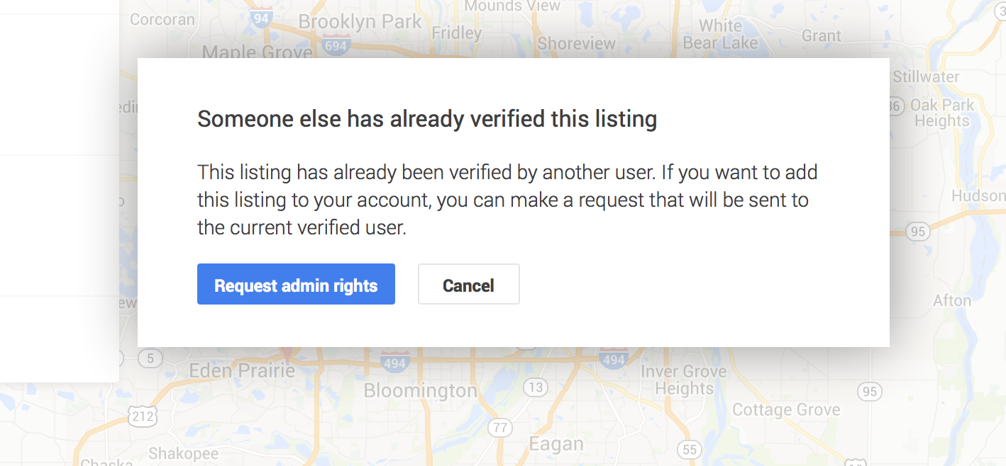 Already verified listing on google maps