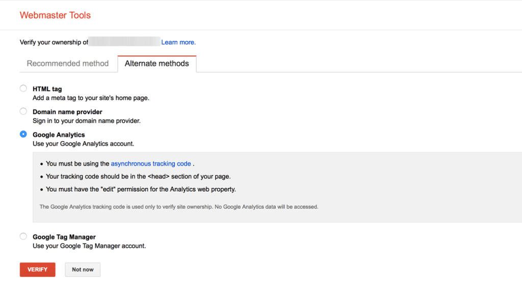 How to verify site in google webmaster tools with google analytics