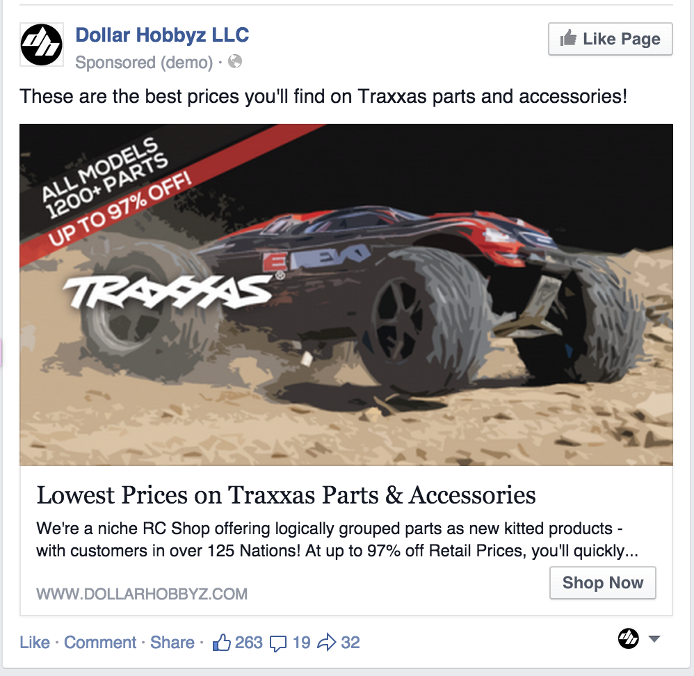 Facebook Retargeting Ad Dollar Hobbyz