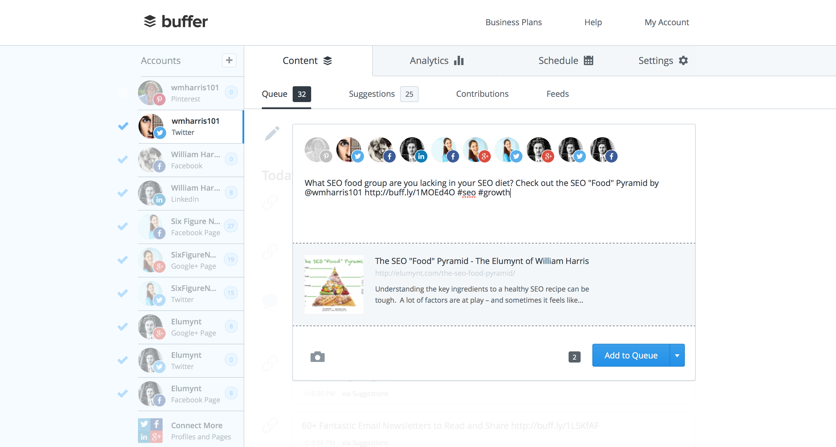 Buffer Tool for Content Promotion