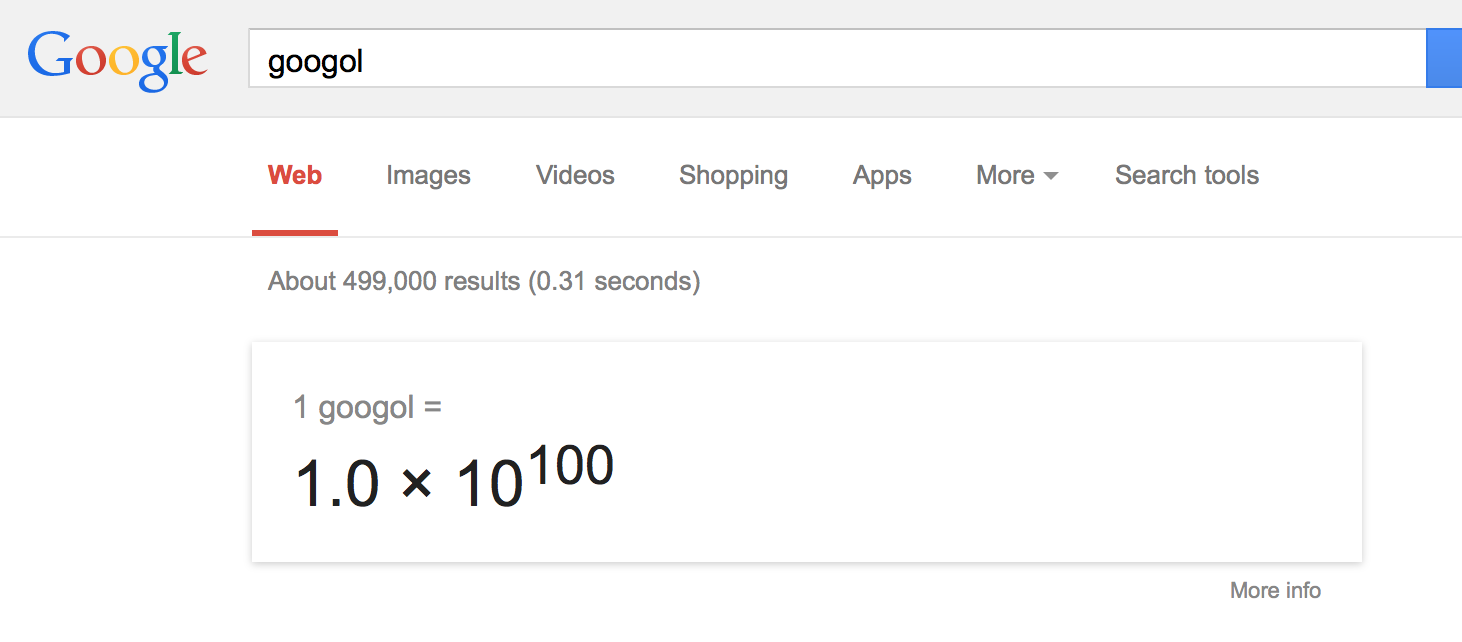 Google search for 1 googol using calculator
