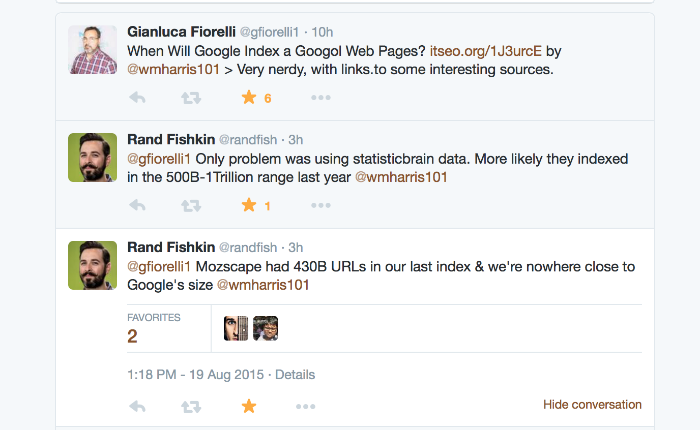 Twitter Convo with Rand Fishkin and Gianluca Fiorelli
